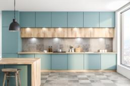 cuisine-moderne-carrelage-claire-bleu-cs17-carrelage-saintais-saintes-grand-carreaux-gris-pose